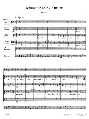 Johann Sebastian Bach: Mass in F major BWV 233 Lutheran Mass 1: SATB