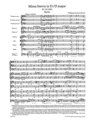 Wolfgang Amadeus Mozart: Missa Brevis In D K.194: Mixed Choir
