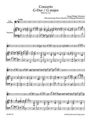 Georg Philipp Telemann: Concerto in G major TWV 51: Viola