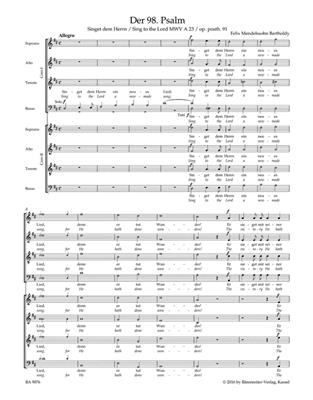 Felix Mendelssohn Bartholdy: Psalm 98 Sing to the Lord a new-made Song: Mixed Choir