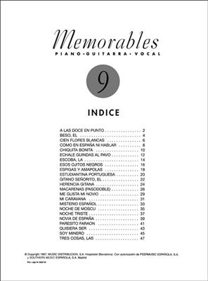 Memorables 9: Piano, Vocal and Guitar (songbooks)
