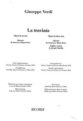 Giuseppe Verdi: La Traviata - Opera Vocal Score: Voice