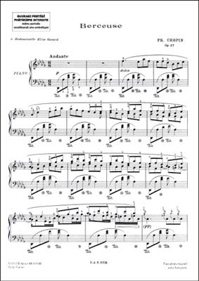 Frédéric Chopin: Berceuse Barcarola Variazioni Piano: Piano or Keyboard