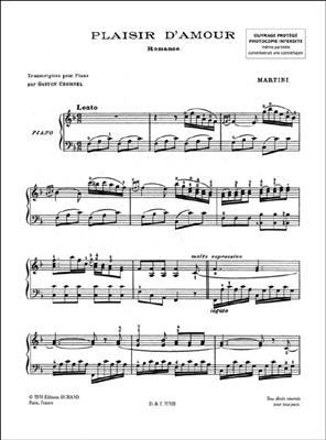Giovanni Battista Martini: Plaisir D'Amour Piano: Piano
