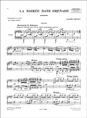 Claude Debussy: La Soiree Dans Grenade: Piano Quatre Mains (4 Hands)