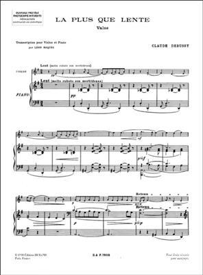 Claude Debussy: La Plus Que Lente: Violin