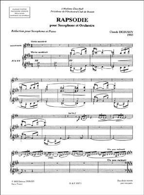 Claude Debussy: Rhapsodie - Pour Saxophone Et Orchestre: Oboe Duet