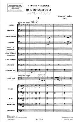 Camille Saint-Saëns: Troiseme Concerto opus 61 : Violin Solo