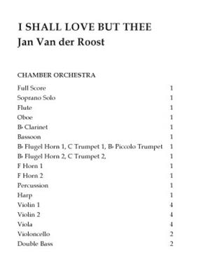 Jan Van der Roost: I Shall Love But Thee: Chamber Orchestra