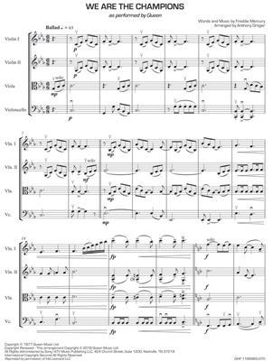 Freddie Mercury: We Are the Champions: Arr. (Anthony Gröger): String Quartet