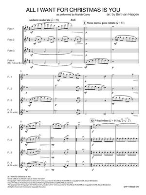 Mariah Carey: All I Want for Christmas is You: Arr. (Bert van Haagen): Flute Ensemble