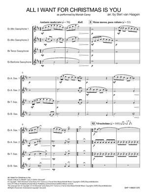Mariah Carey: All I Want for Christmas is You: Arr. (Bert van Haagen): Saxophone Ensemble