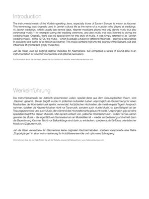 Jan de  Haan: Klezmeriana: Woodwind Ensemble
