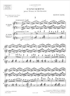 Maurice Ravel: Concerto En Sol: Piano Duet
