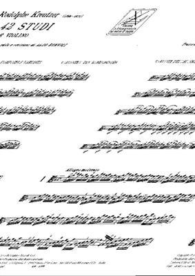 Rudolf Kreutzer: 42 Studi Per Violino: Violin