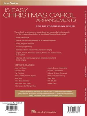 15 Easy Christmas Carol Arrangements (Low Voice): Vocal and Piano