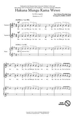 Hakuna Mungu Kama Wewe: Arr. (Kirk Aamot): Upper Voices a Cappella