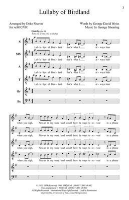 George Shearing: Lullaby of Birdland: Arr. (Deke Sharon): SATB