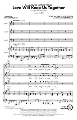 Howard Greenfield: Love Will Keep Us Together: Arr. (Roger Emerson): 3-Part Choir