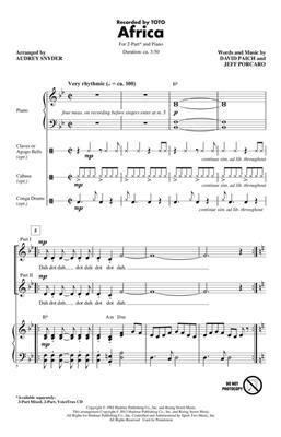 Toto: Africa: Arr. (Audrey Snyder): 2-Part Choir