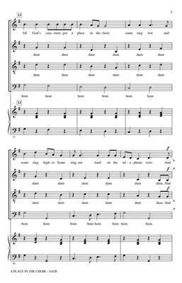 Bill Staines: A Place in the Choir: Arr. (Janet Wheeler): SATB