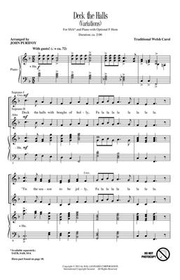 Traditional: Deck the Halls: Arr. (John Purifoy): SSA