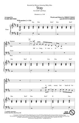 Rihanna: Stay: Arr. (Mark Brymer): SATB