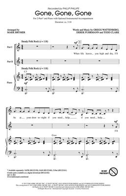 Phillip Phillips: Gone, Gone, Gone: Arr. (Mark Brymer): 2-Part Choir