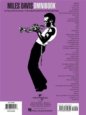 Miles Davis: Miles Davis Omnibook: Bass Clef Instrument