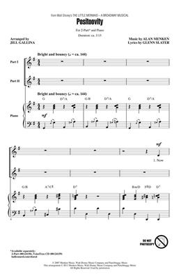 Alan Menken: Positoovity from Walt Disney's The Little Mermaid: Arr. (Jill Gallina): 2-Part Choir