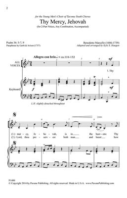 Benedetto Marcello: Thy Mercy, Jehovah: Arr. (Kyle Haugen): 2-Part Choir