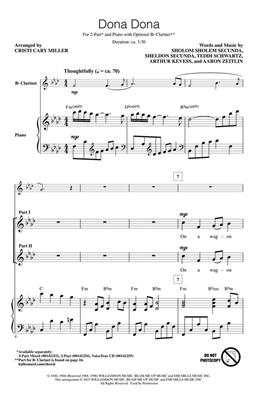 Aaron Zeitlin: Dona Dona: Arr. (Cristi Cary Miller): 2-Part Choir