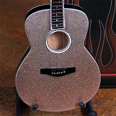Acoustic Guitar With Glitter Rhinestone Finish