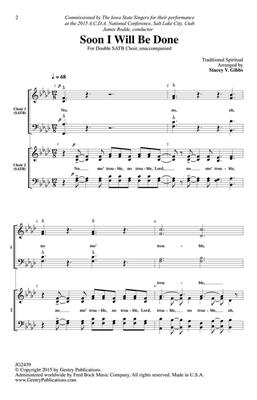 Soon I Will Be Done: Arr. (Stacey V. Gibbs): SATB