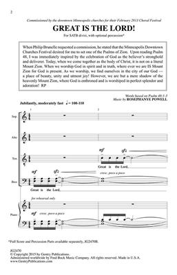 Rosephanye Powell: Great Is the Lord: SATB