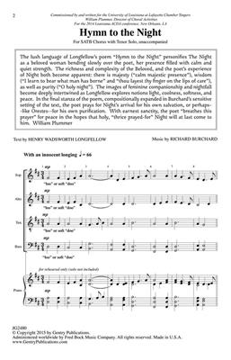 Richard Burchard: Hymn to the Night: SATB