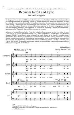 Gabriel Fauré: Introit and Kyrie: Arr. (Sanford Dole): SATB