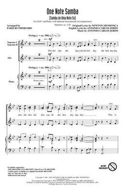 One Note Samba: Arr. (Paris Rutherford): SSA