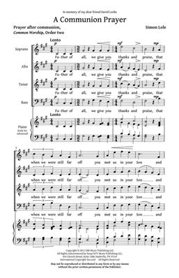 Simon Lole: A Communion Prayer: SATB