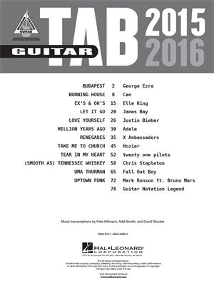 Guitar Tab 2015-2016: Guitar or Lute