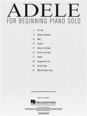 Adele: Adele For Beginning Piano Solo: Easy Piano