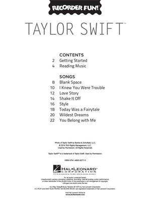 Taylor Swift: Taylor Swift - Recorder Fun!: Descant Recorder