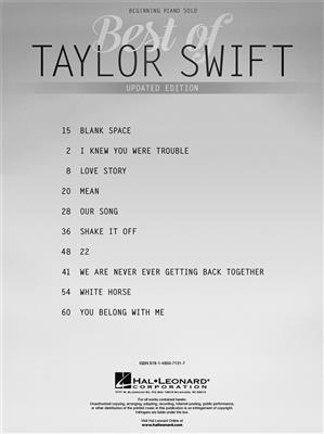 Best of Taylor Swift - Updated Edition: Piano