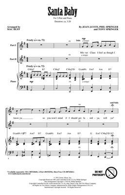 Santa Baby: Arr. (Mac Huff): 2-Part Choir