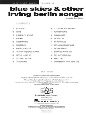 Blue Skies & Other Irving Berlin Songs: Piano
