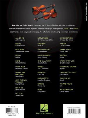 Pop Hits For Violin Duet: Violin