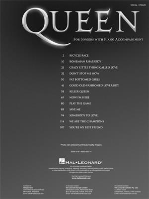 Queen: For Singers With Piano Accompaniment: Vocal