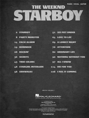 The Weeknd: The Weeknd - Starboy: Piano, Vocal and Guitar (songbooks)