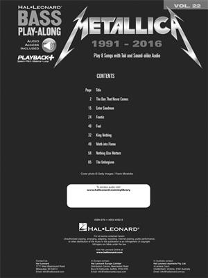 Metallica: 1991-2016: Bass Guitar
