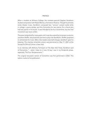 Stephen Sondheim: Concertino for Two Pianos: Piano Duet